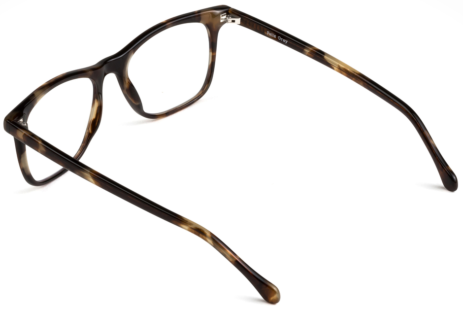 Jemison eyeglasses in whiskey tortoise viewed from angle