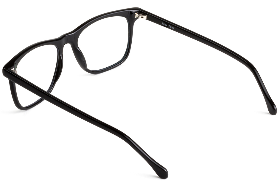 Jemison eyeglasses in black viewed from angle