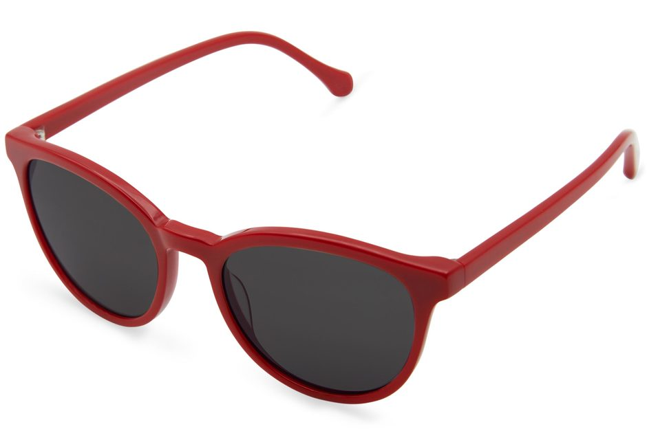 Roman sunglasses in candy apple viewed from angle