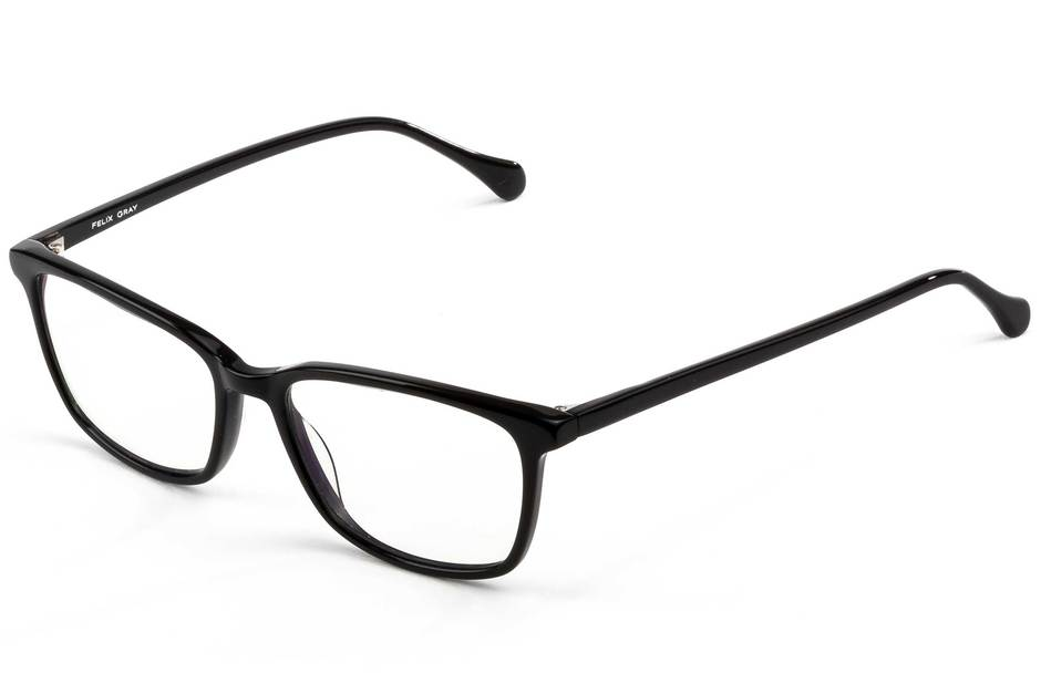 Faraday LBF eyeglasses in black viewed from angle