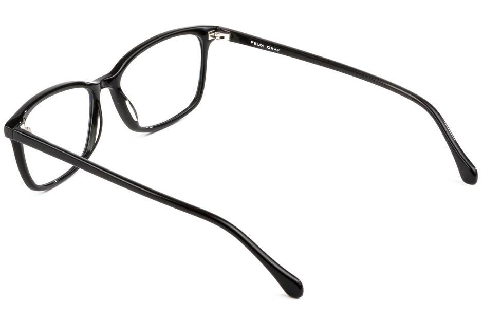 Faraday LBF eyeglasses in black viewed from rear