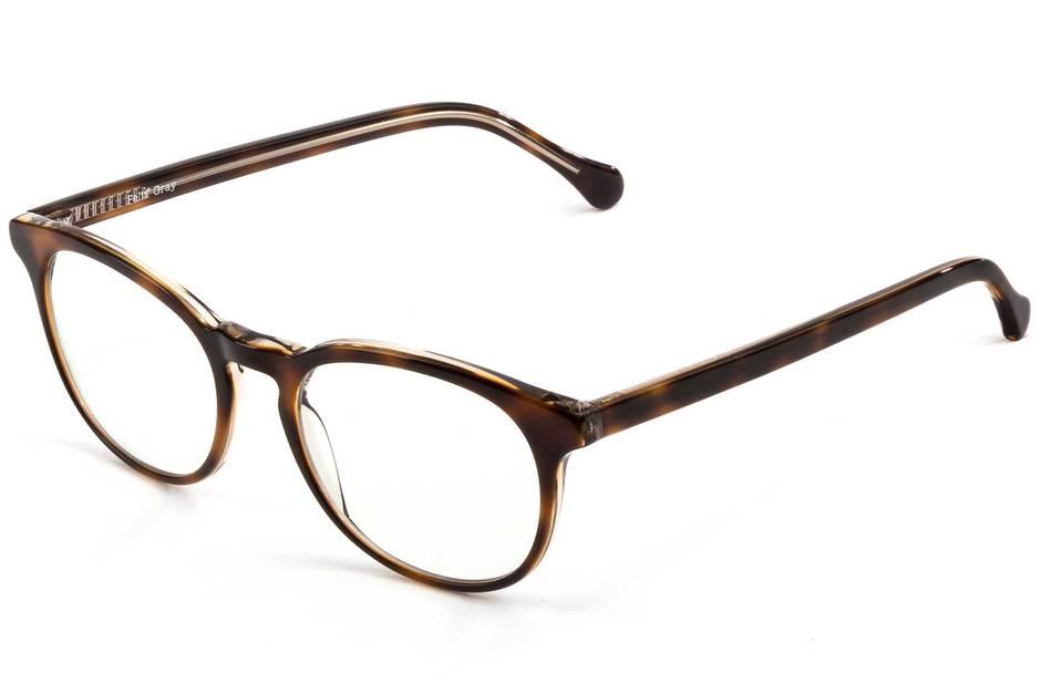 Roebling LBF eyeglasses in sazerac crystal viewed from angle