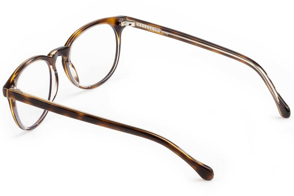 Roebling LBF eyeglasses in sazerac crystal viewed from rear