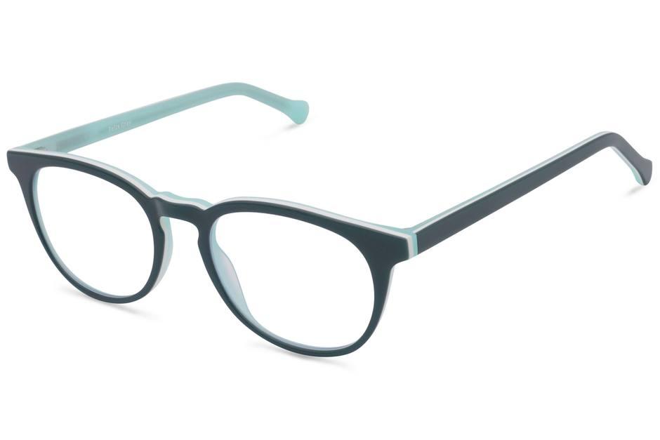 Roebling K2 eyeglasses in spearmint viewed from angle