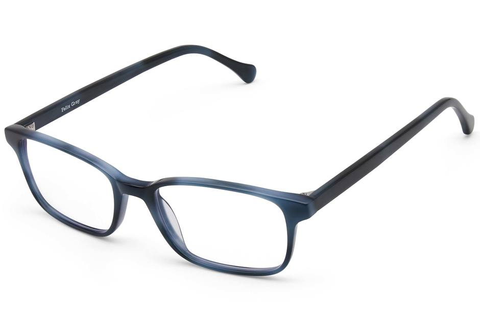 Carver eyeglasses in midnight surf viewed from angle