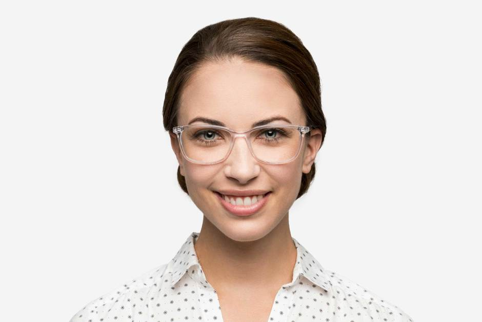 Faraday eyeglasses in panorama on female model viewed from front