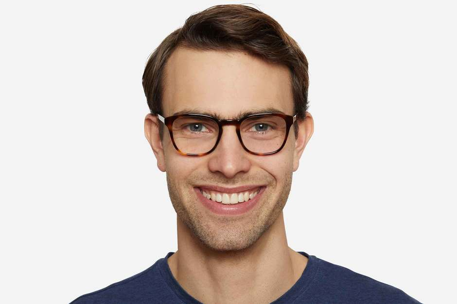 Tole eyeglasses in sazerac on male model viewed from front