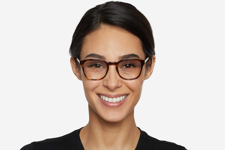 Tole eyeglasses in sazerac on female model viewed from front