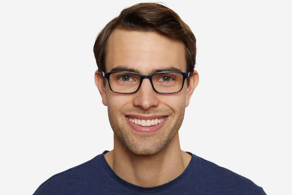 Carver eyeglasses in midnight surf on male model viewed from front