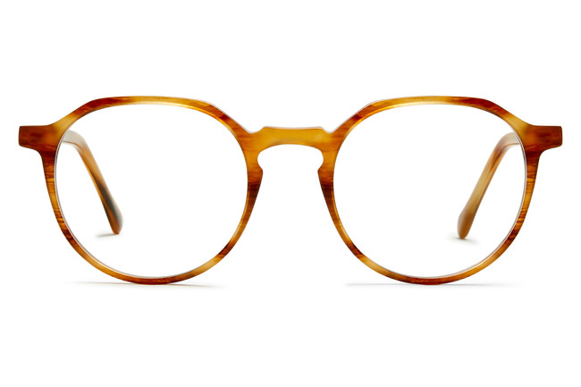 Franklin eyeglasses in amber toffee viewed from front