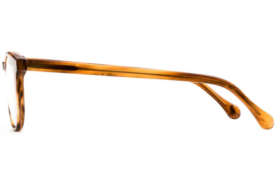 Roebling eyeglasses in amber toffee viewed from side