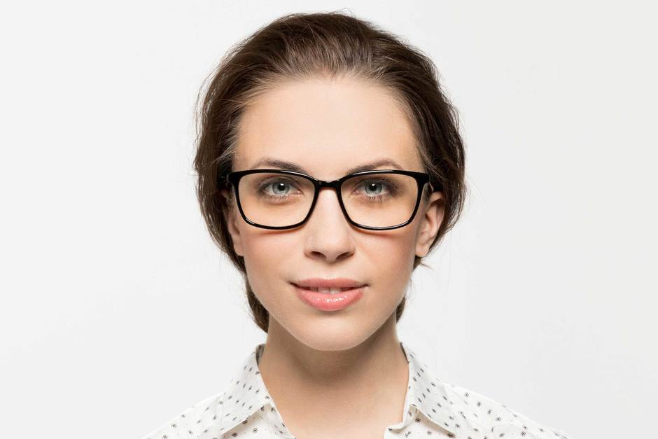 Faraday eyeglasses in black on female model viewed from front
