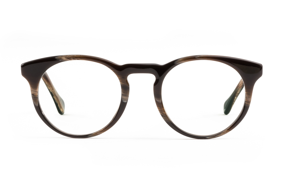 Turing eyeglasses in horn viewed from front