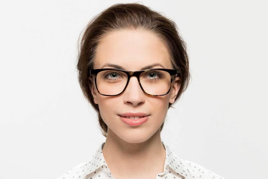 Jemison eyeglasses in whiskey tortoise on female model viewed from front