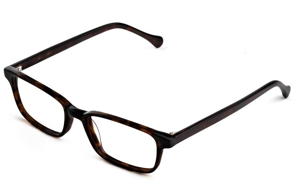 Carver eyeglasses in mahogany viewed from angle