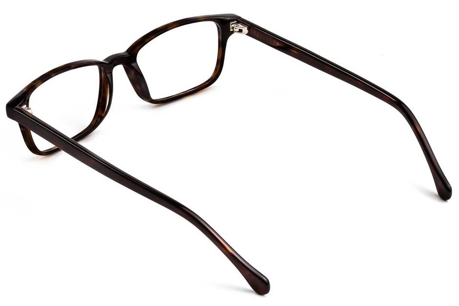 Carver eyeglasses in mahogany viewed from rear