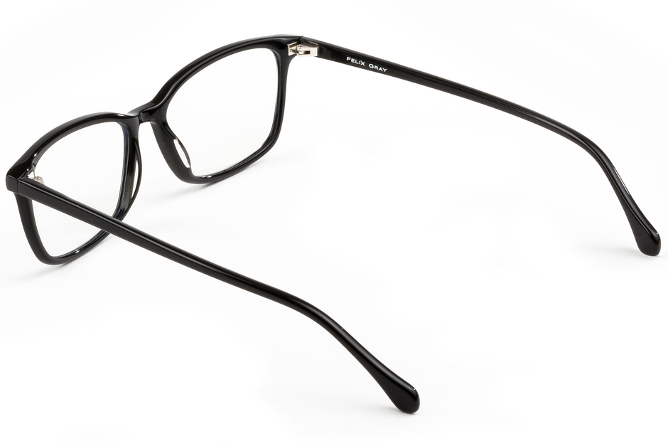 Faraday eyeglasses in black viewed from angle