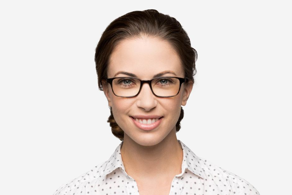 Carver eyeglasses in mahogany on female model viewed from front