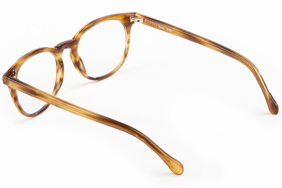 Roebling eyeglasses in amber toffee viewed from angle