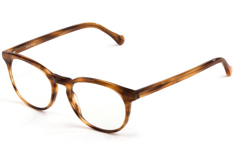 Roebling eyeglasses in amber toffee viewed from front