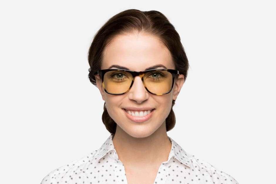 Jemison sleepglasses in whiskey tortoise on female model viewed from front