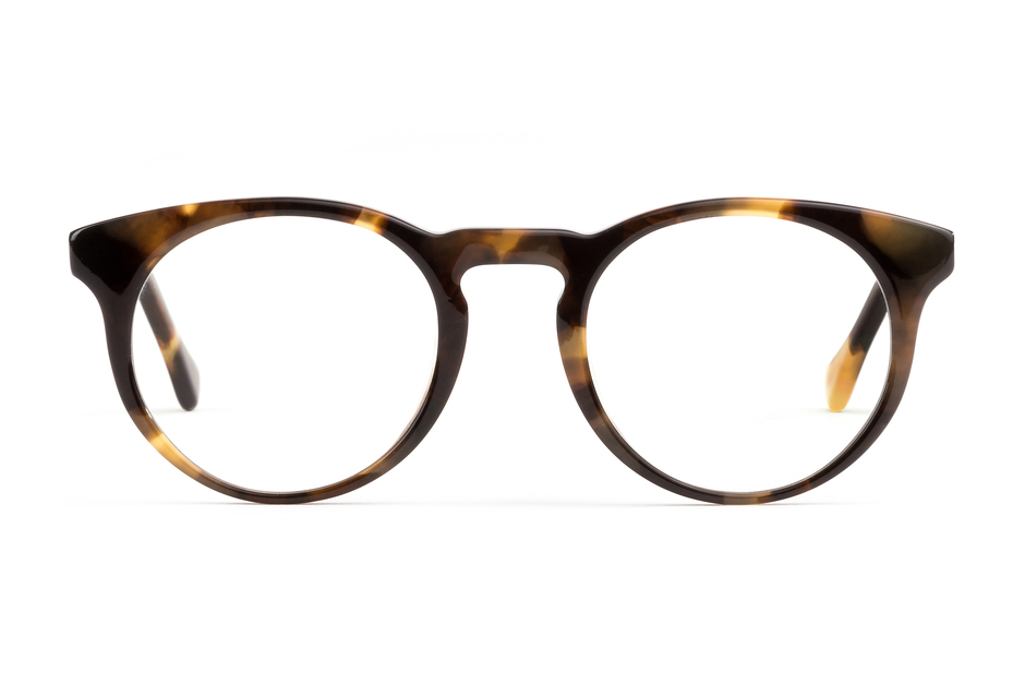 Turing eyeglasses in whiskey tortoise viewed from front